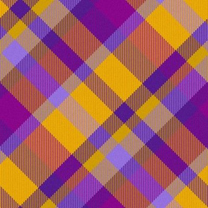 Purple and Gold Madras 45 degree angled