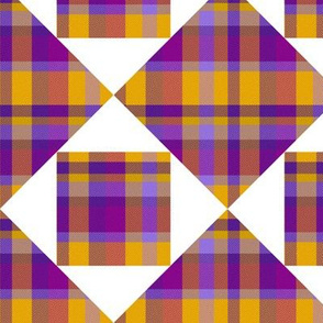 Purple and Gold Madras with White
