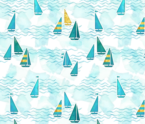 Summer boats fabric by adenaj on Spoonflower - custom fabric