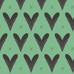 Hearts from Feathers Green Upholstery Fabric