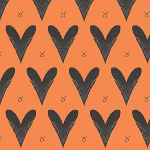 Hearts from Feathers Orange Upholstery Fabric
