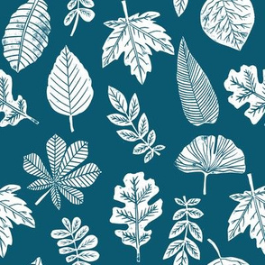 Leaves botanical nature walk autumn fall spring summer pattern blue