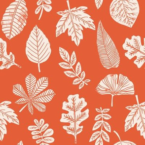 Leaves botanical nature walk autumn fall spring summer pattern burnt orange