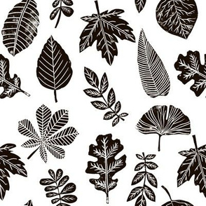 Leaves botanical nature walk autumn fall spring summer pattern black and white