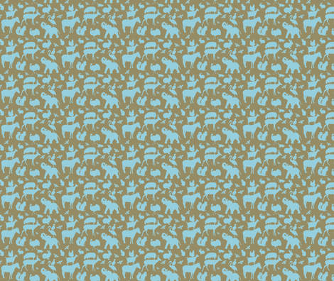 Farm, Zoo and Woodland Animals Blue on Brown fabric by galleryinthegardendesigns on Spoonflower - custom fabric