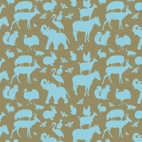 Farm, Zoo and Woodland Animals Blue on Brown