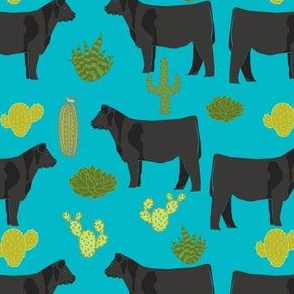 angus cattle fabric cattle cactus design - turquoise
