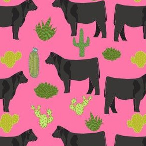 angus cattle fabric cattle cactus design - bright pink
