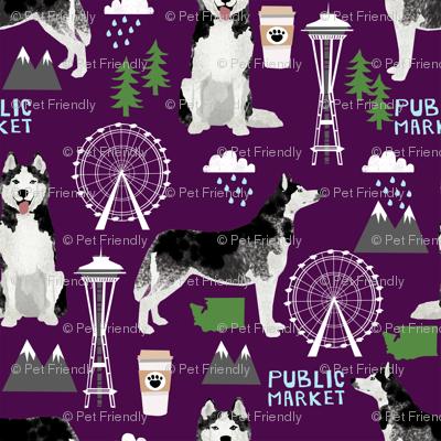 husky seattle fabric dogs in seattle cute dog fabric - dark purple