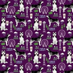 husky seattle fabric dogs in seattle cute dog fabric - dark purple