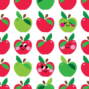 aloha apple large red and green w faces