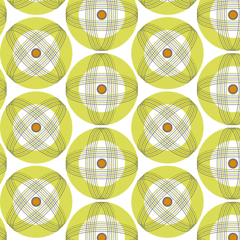 Into Orbit - Midcentury Modern Geometric Dot Orange fabric by heatherdutton on Spoonflower - custom fabric