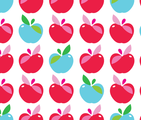 aloha apple large blue and red fabric by alohababy on Spoonflower - custom fabric