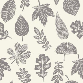 Leaves botanical nature walk autumn fall spring summer pattern cream grey