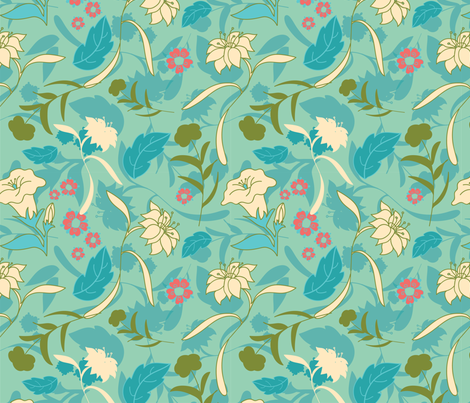 meadow teal daffodil dance fabric by margiecampbellsamuels on Spoonflower - custom fabric