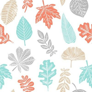 Leaves botanical nature walk autumn fall spring summer pattern multi colorful