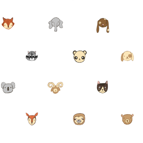 All the animals - white fabric by crumpetsandcrabsticks on Spoonflower - custom fabric