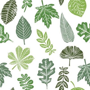 Leaves botanical nature walk autumn fall spring summer pattern multi green
