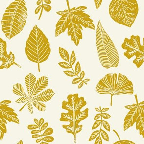 Leaves botanical nature walk autumn fall spring summer pattern mustard