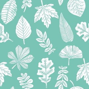 Leaves botanical nature walk autumn fall spring summer pattern seafoam