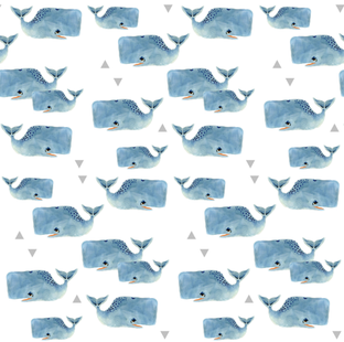 Larger Whale Pod and Triangles fabric by taraput on Spoonflower - custom fabric
