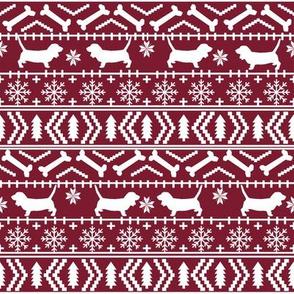Basset Hound fair isle christmas dog breed fabric pattern maroon