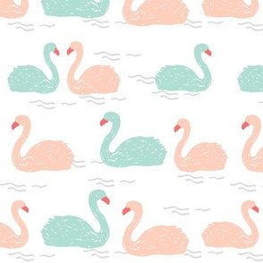 swans // mint bird birds elegant beautiful birds mint and pink swans