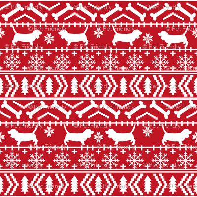 Basset Hound fair isle christmas dog breed fabric pattern red