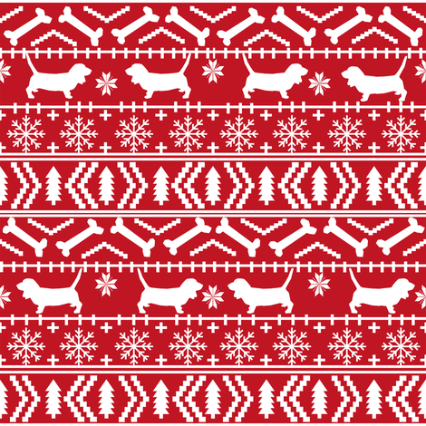 Basset Hound fair isle christmas dog breed fabric pattern red fabric by petfriendly on Spoonflower - custom fabric