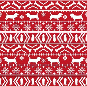 Basset Hound fair isle christmas dog breed fabric pattern red
