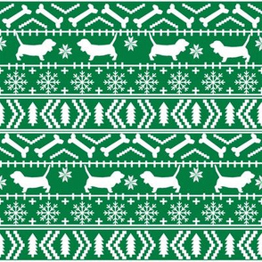 Basset Hound fair isle christmas dog breed fabric pattern bright green