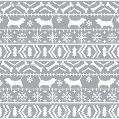 Basset Hound fair isle christmas dog breed fabric pattern grey