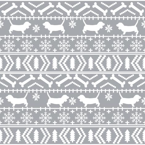 Basset Hound fair isle christmas dog breed fabric pattern grey fabric by petfriendly on Spoonflower - custom fabric