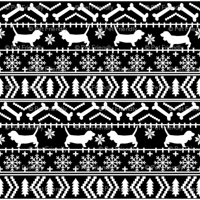Basset Hound fair isle christmas dog breed fabric pattern black and white