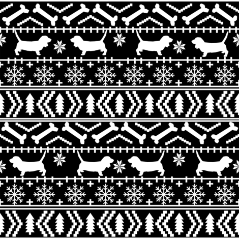 Basset Hound fair isle christmas dog breed fabric pattern black and white fabric by petfriendly on Spoonflower - custom fabric
