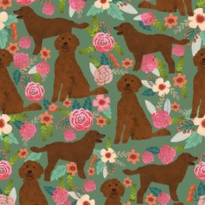 golden doodle dog fabric florals and dogs design - green