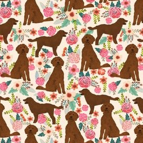 golden doodle dog fabric florals and dogs design - cream