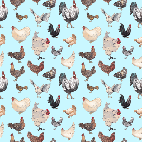 Chicken Happy - Tiny Blue fabric by normajeane on Spoonflower - custom fabric