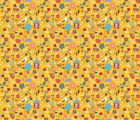 Birds and bugs - yellow fabric by desi_draws on Spoonflower - custom fabric