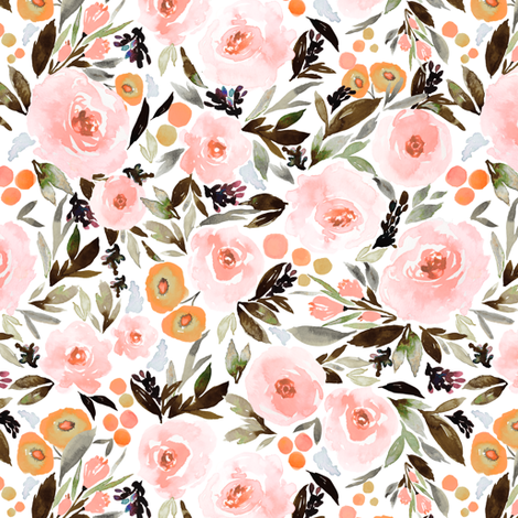 Indy bloom Design Blush Blossom Black fabric by indybloomdesign on Spoonflower - custom fabric