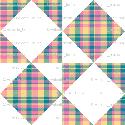 Madras Plaid Candy Colored Counterchange Squares and Triangles