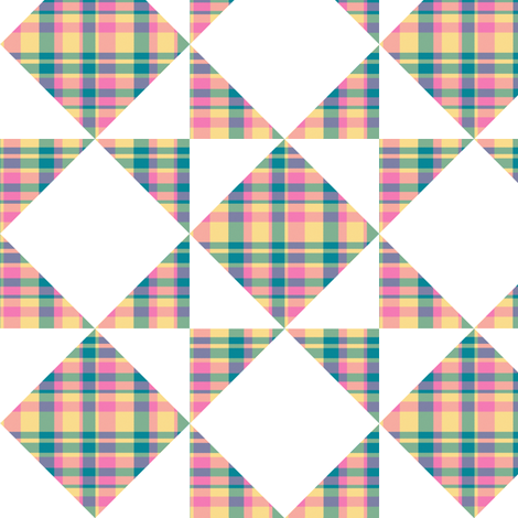 Madras Plaid Candy Colored Counterchange Squares and Triangles fabric by eclectic_house on Spoonflower - custom fabric