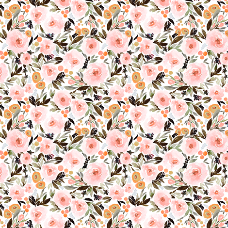 Indy bloom Design Blush Blossom Black A fabric by indybloomdesign on Spoonflower - custom fabric