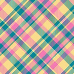 Madras Plaid Candy Colored 45 degree angled