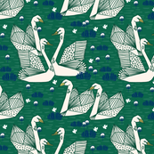 swans // geometric swans emerald green and navy swan print