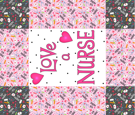 Love A Nurse Wholecloth Quilt Top Pink fabric by phyllisdobbs on Spoonflower - custom fabric