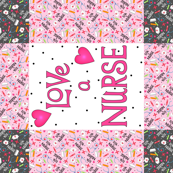 Love A Nurse Wholecloth Quilt Top Pink