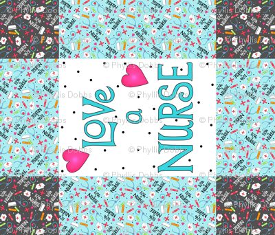 Love a Nurse Wholecloth Quilt Top Turquoise