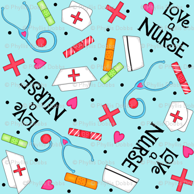 Love a Nurse Whimsy Blue