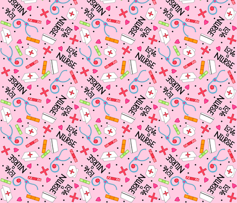 Love a Nurse Whimsy Pink fabric by phyllisdobbs on Spoonflower - custom fabric